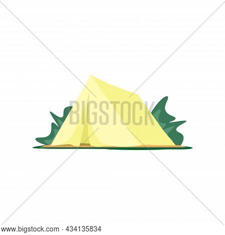 Yellow Camping Tent For Camping For A Trip To Nature. Tent Isolated On A White Background.