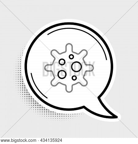 Line Virus Icon Isolated On Grey Background. Corona Virus 2019-ncov. Bacteria And Germs, Cell Cancer