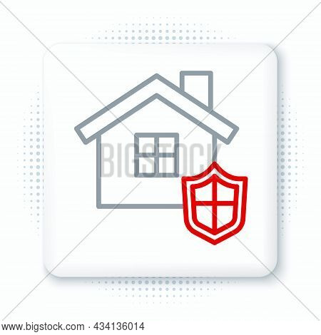 Line House With Shield Icon Isolated On White Background. Insurance Concept. Security, Safety, Prote