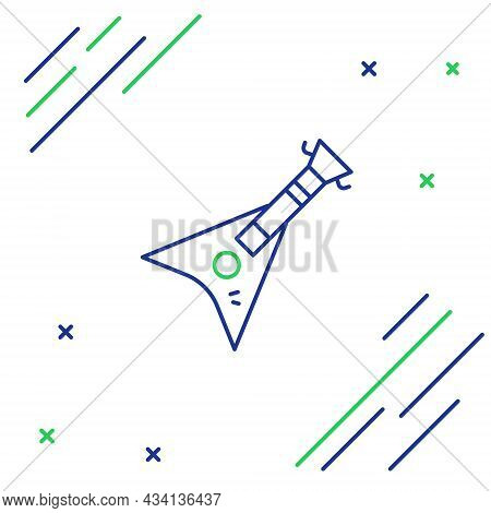 Line Electric Bass Guitar Icon Isolated On White Background. Colorful Outline Concept. Vector