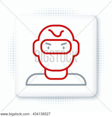 Line Thief Mask Icon Isolated On White Background. Bandit Mask, Criminal Man. Colorful Outline Conce