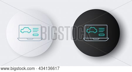 Line Hardware Diagnostics Condition Of Car Icon Isolated On Grey Background. Car Service And Repair