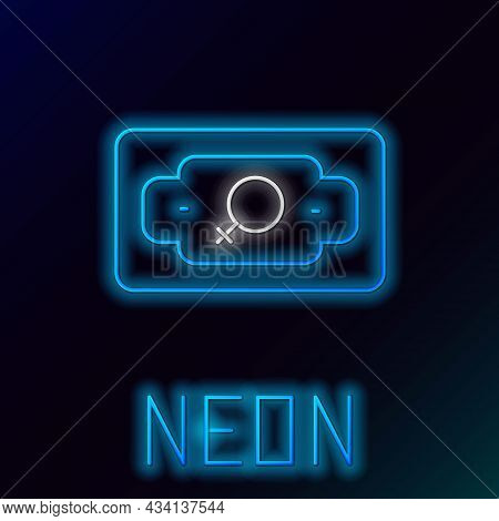 Glowing Neon Line Money Growth Woman Icon Isolated On Black Background. Income Concept. Business Gro