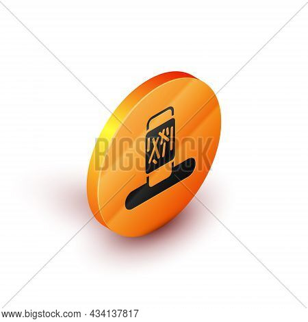 Isometric Cat Scratching Post With Toy Icon Isolated On White Background. Orange Circle Button. Vect