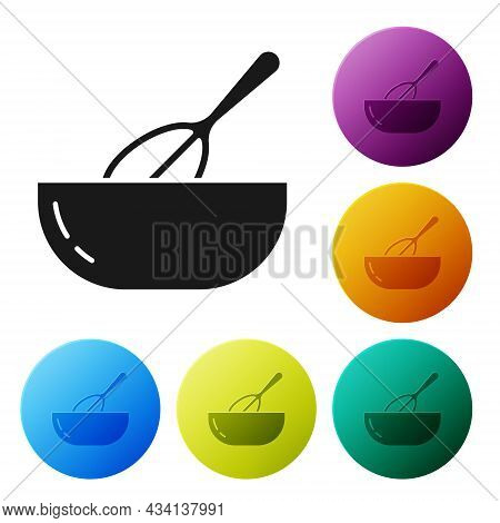 Black Kitchen Whisk And Bowl Icon Isolated On White Background. Cooking Utensil, Egg Beater. Cutlery