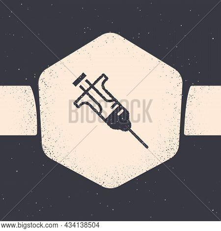 Grunge Syringe Icon Isolated On Grey Background. Syringe For Vaccine, Vaccination, Injection, Flu Sh
