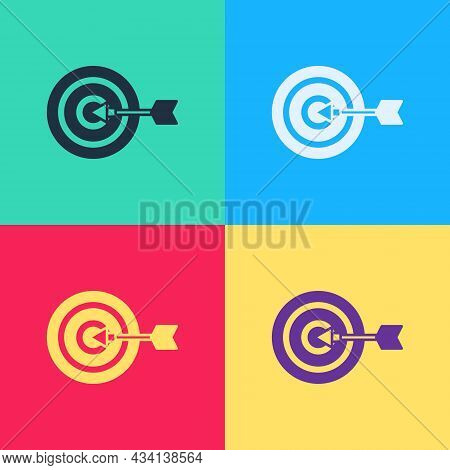 Pop Art Target Financial Goal Concept Icon Isolated On Color Background. Symbolic Goals Achievement,