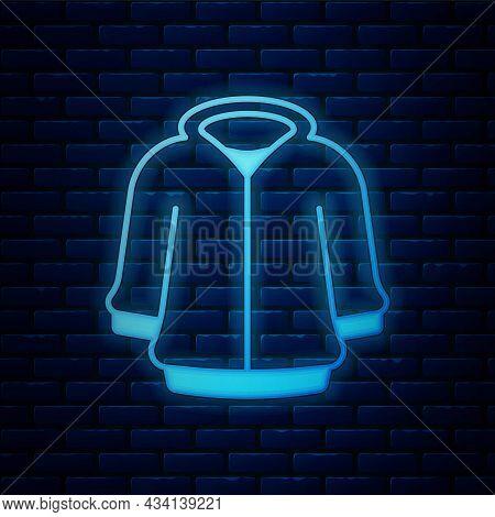 Glowing Neon Hoodie Icon Isolated On Brick Wall Background. Hooded Sweatshirt. Vector