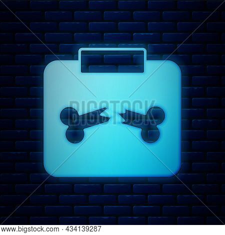 Glowing Neon X-ray Shots With Broken Bone Icon Isolated On Brick Wall Background. Vector