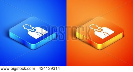 Isometric Realtor Icon Isolated On Blue And Orange Background. Buying House. Square Button. Vector