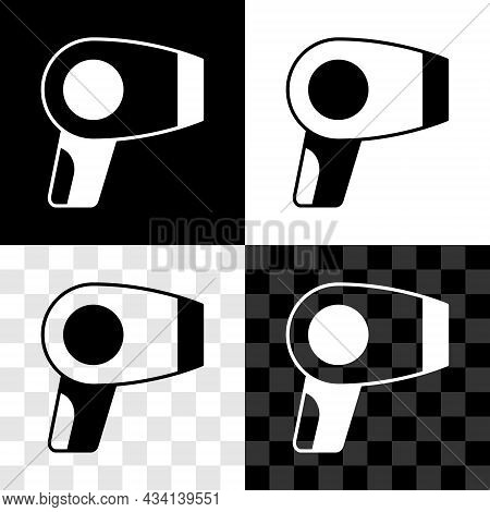 Set Hair Dryer Icon Isolated On Black And White, Transparent Background. Hairdryer Sign. Hair Drying