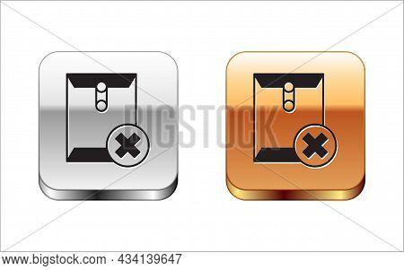 Black Delete Envelope Icon Isolated On White Background. Delete Or Error Letter. Cross On Message. R