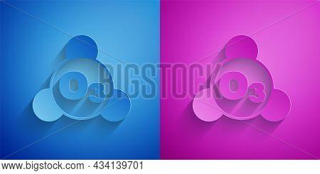 Paper Cut Ozone Molecule Icon Isolated On Blue And Purple Background. Ozone, O3, Trioxygen, Inorgani