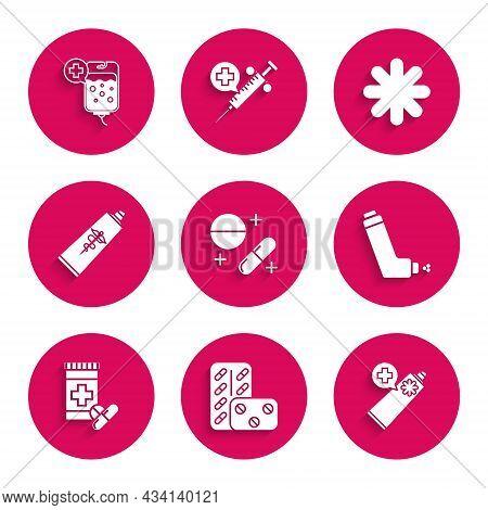 Set Medicine Pill Or Tablet, Pills Blister Pack, Ointment Cream Tube Medicine, Inhaler, Bottle And P