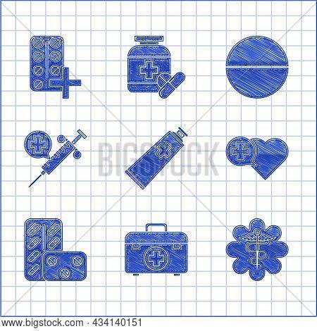 Set Ointment Cream Tube Medicine, Emergency Star Medical Symbol Caduceus Snake With Stick, Heart Cro