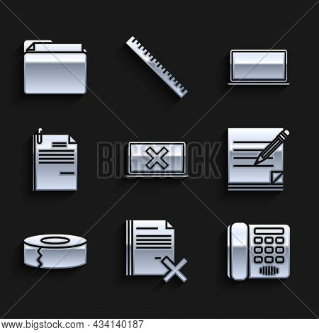 Set Laptop And Cross Mark On Screen, Delete File Document, Telephone, Blank Notebook Pencil With Era