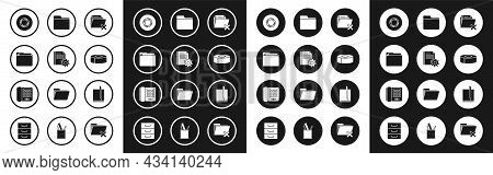 Set Delete Folder, Document Settings With Gears, Scotch, File Document And Telephone Icon. Vector