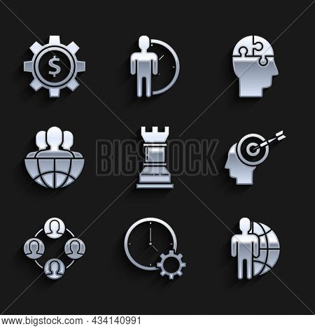 Set Business Strategy, Time Management, Globe And People, Head Hunting Concept, Project Team Base, H