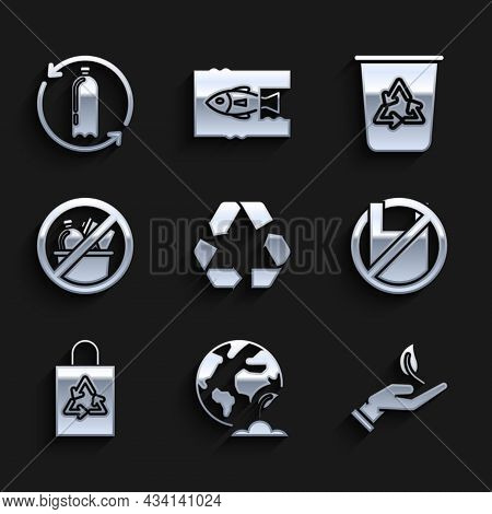 Set Recycle Symbol, Earth Globe And Plant, Sprout In Hand Of Environmental Protection, Say No To Pla