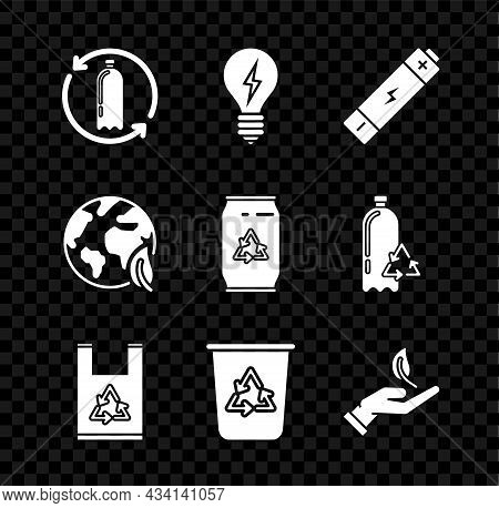 Set Recycling Plastic Bottle, Light Bulb With Lightning Symbol, Battery, Plastic Bag Recycle, Recycl