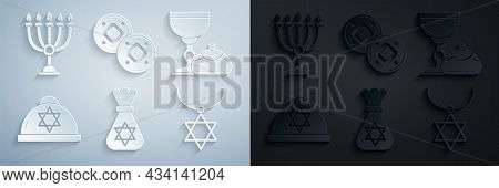 Set Jewish Money Bag With Star Of David, Goblet And Hanukkah Sufganiyot, Kippah, Star David Necklace
