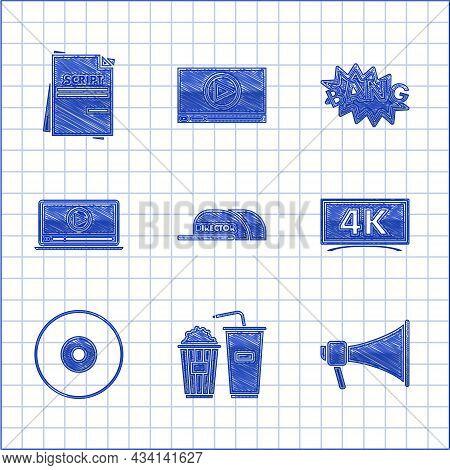 Set Cap With Inscription Director, Popcorn And Soda Drink Glass, Megaphone, , Cd Dvd Disk, Online Pl
