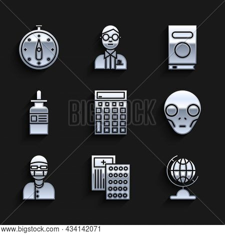 Set Calculator, Pills In Blister Pack, Earth Globe, Extraterrestrial Alien Face, Assistant, Glass Bo