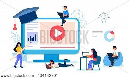 Online Courses Vector Modern Knowledge Development Using Internet Training Webinar Distance Lesson S