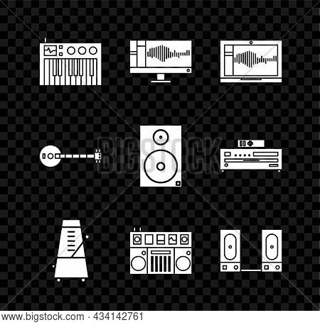 Set Music Synthesizer, Sound Or Audio Recorder On Monitor, Laptop, Metronome With Pendulum In Motion