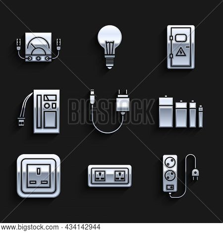 Set Charger, Electrical Outlet, Extension Cord, Battery, Cabinet And Ampere Meter, Multimeter, Voltm