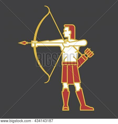 Archer Shooting Bow And Arrow Illustration In Simple Bold Outline Style Vector Illustration Of Man A