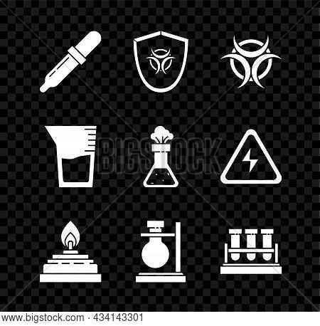 Set Pipette, Biohazard Symbol On Shield, Alcohol Or Spirit Burner, Test Tube Flask Stand, Chemical,