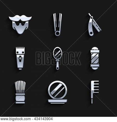 Set Hand Mirror, Makeup Powder With, Hairbrush, Classic Barber Shop Pole, Shaving, Electrical Hair C