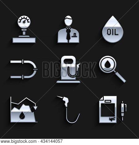 Set Petrol Or Gas Station, Gasoline Pump Nozzle, Contract Money And Pen, Oil Drop, Drop Crude Oil Pr