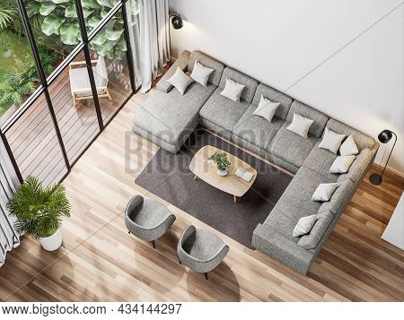 Top View Of Modern Living Room With Tropical Style Garden View 3d Render,the Rooms Have Wooden Floor