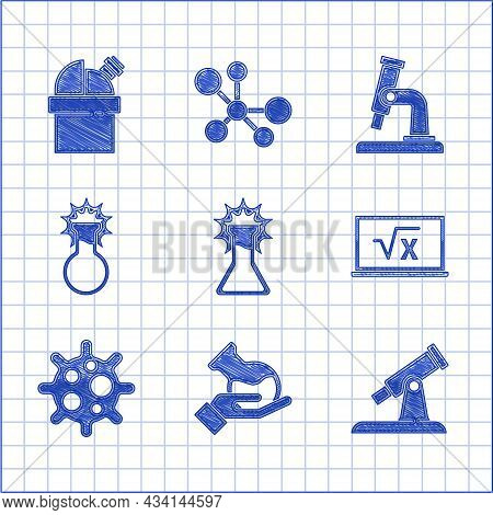 Set Test Tube And Flask, Telescope, Square Root Of X Glyph, Virus, Microscope And Astronomical Obser