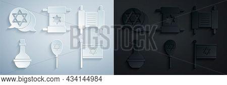 Set Balloon With Star Of David, Torah Scroll, Jewish Wine Bottle, Flag Israel, And Star David Icon.