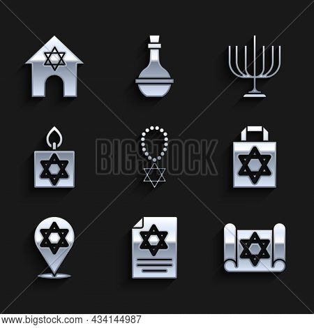 Set Star Of David Necklace On Chain, Torah Scroll, Shopping Bag With Star David, Burning Candle, Han