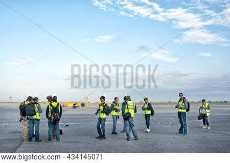 Photographers Waiting For An Aircraft Landing At The Airport: Abakan, Russia - August 08, 2020