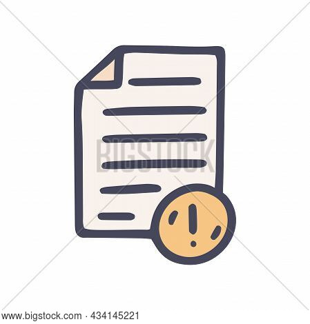 Mistake In Document Color Vector Doodle Simple Icon