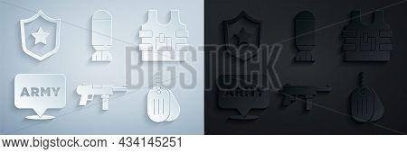 Set Submachine Gun M3, Bulletproof Vest, Military Army, Dog Tag, Aviation Bomb And Reward Medal Icon