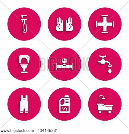 Set Industry Pipe And Manometer, Drain Cleaner Bottle, Bathtub, Water Tap, Work Overalls, Toilet Bow