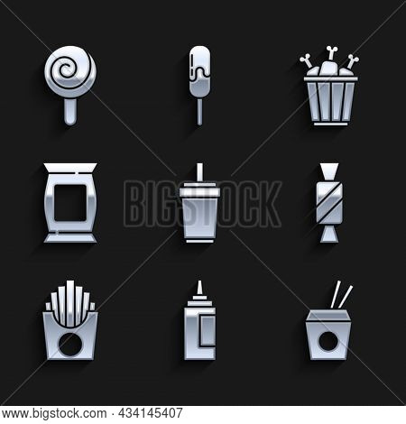 Set Paper Glass With Straw, Sauce Bottle, Asian Noodles And Chopsticks, Candy, Potatoes French Fries