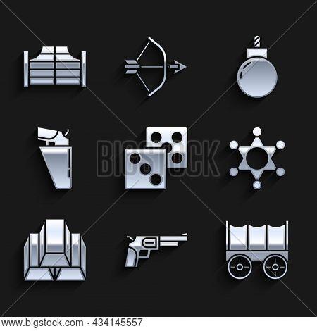 Set Game Dice, Revolver Gun, Wild West Covered Wagon, Hexagram Sheriff, Gold Bars, In Holster, Bomb
