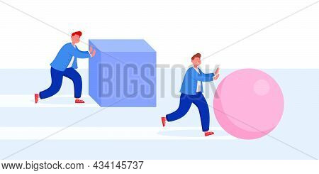 Businessman Moving Box While Smarter Competitor Pushing Ball. Efficient Performance Of Creative Man