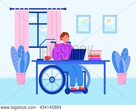 Disabled Man In Wheelchair Working At Computer At Home. Male Invalid In Cozy Workplace Flat Vector I