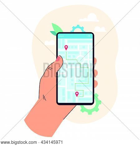 Hand Of Cartoon Person Holding Cell Phone With Map Application. Online Map Of City With Location Pin