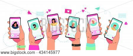 Hands Holding Phone With Dating App. Young People Liking Profiles In Online Application Flat Vector