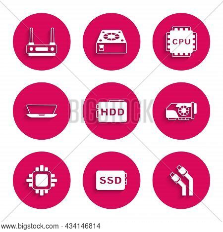 Set Hard Disk Drive Hdd, Ssd Card, Lan Cable Network Internet, Video Graphic, Processor With Cpu, La