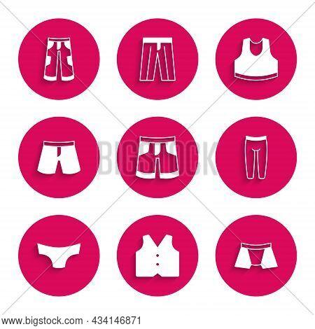 Set Short Or Pants, Waistcoat, Men Underpants, Leggings, Undershirt And Pants Icon. Vector